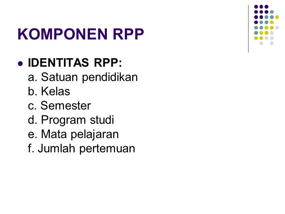 KOMPONEN RPP IDENTITAS RPP: a. Satuan pendidikan b.