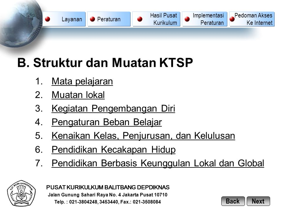 B. Struktur dan Muatan KTSP