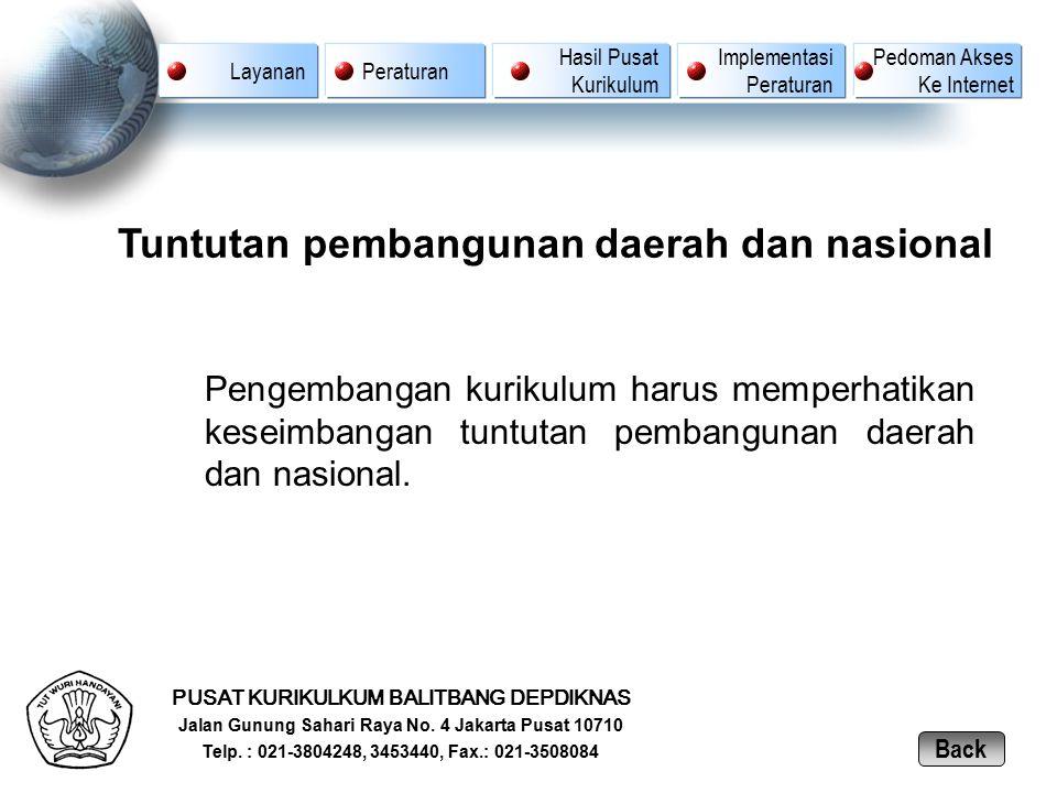 Tuntutan pembangunan daerah dan nasional