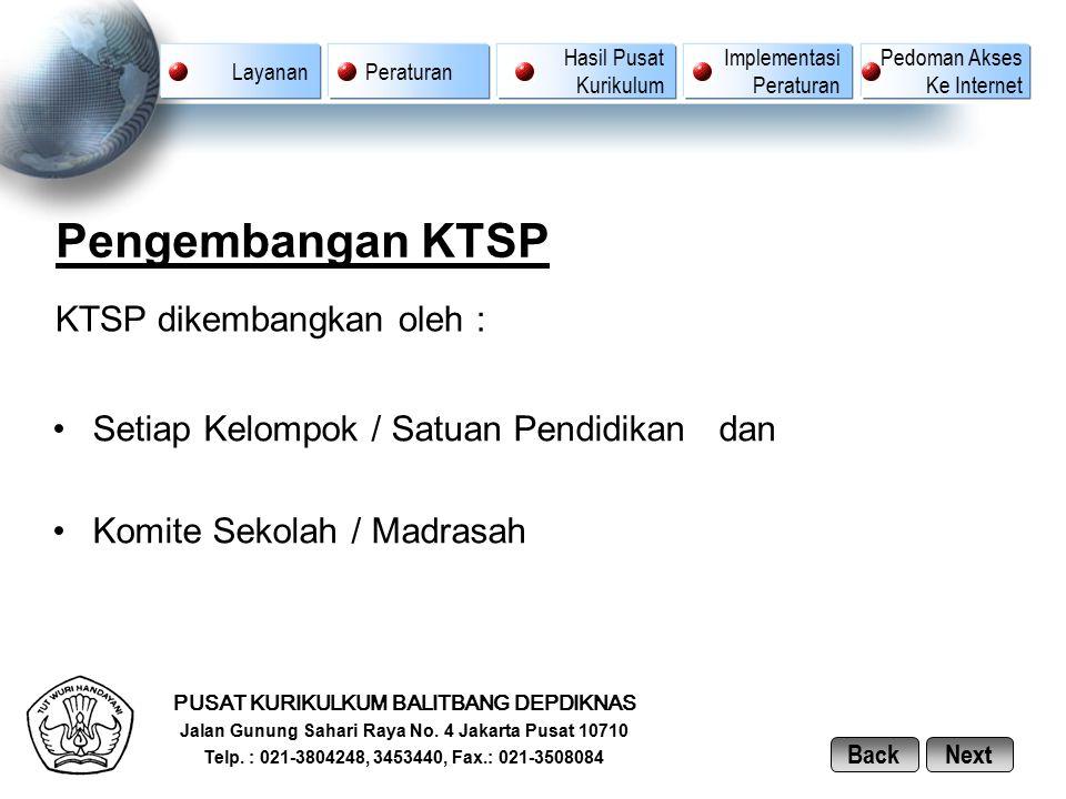 Pengembangan KTSP KTSP dikembangkan oleh :