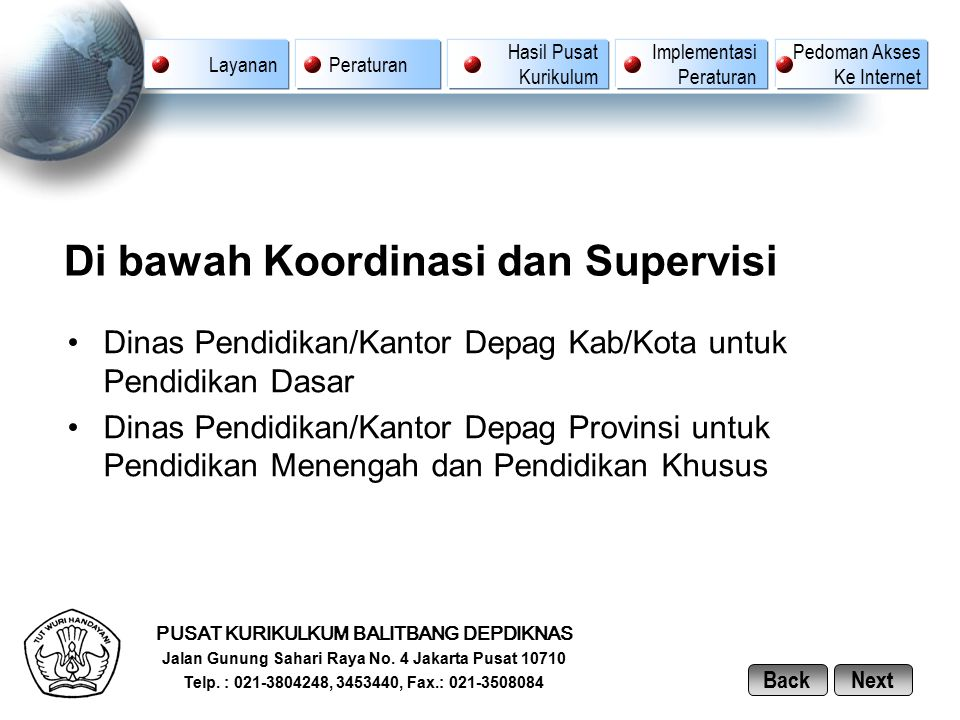 Di bawah Koordinasi dan Supervisi