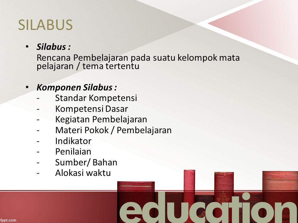 SILABUS Silabus : Rencana Pembelajaran pada suatu kelompok mata pelajaran / tema tertentu. Komponen Silabus :