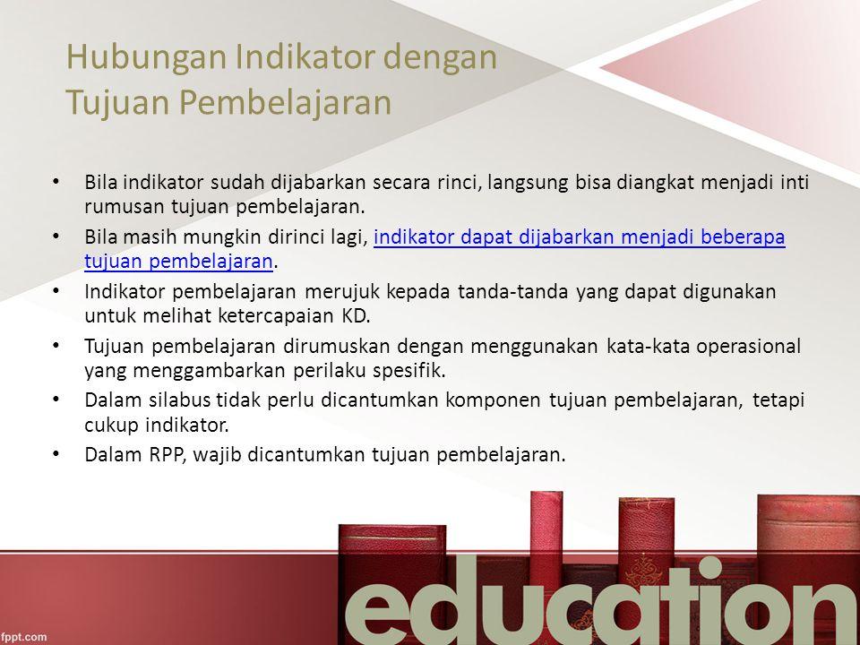 Hubungan Indikator dengan Tujuan Pembelajaran