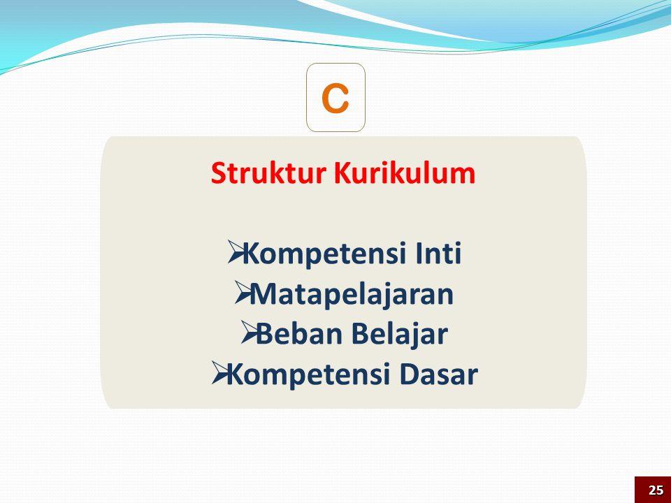 C Struktur Kurikulum Kompetensi Inti Matapelajaran Beban Belajar