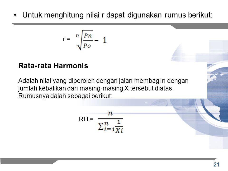 Untuk menghitung nilai r dapat digunakan rumus berikut:
