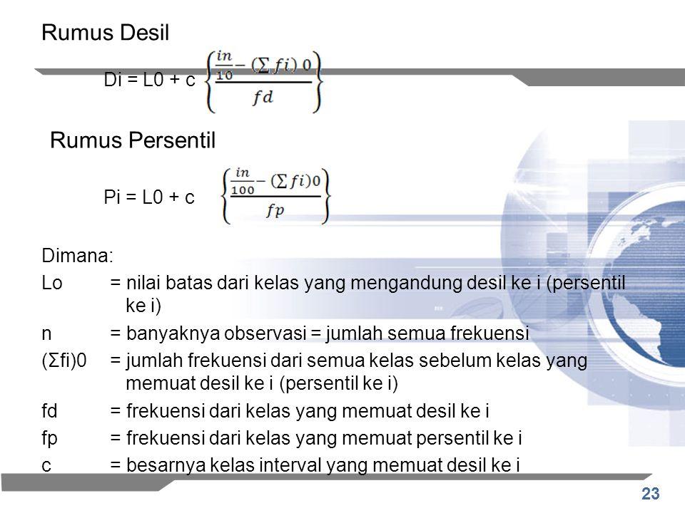 Rumus Desil Rumus Persentil Di = L0 + c Pi = L0 + c