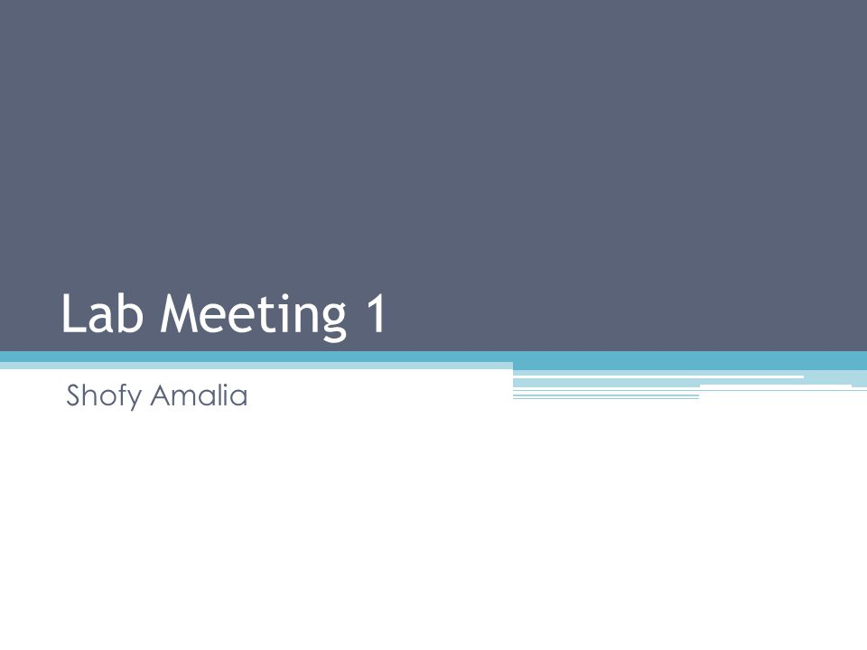 Lab Meeting 1 Shofy Amalia