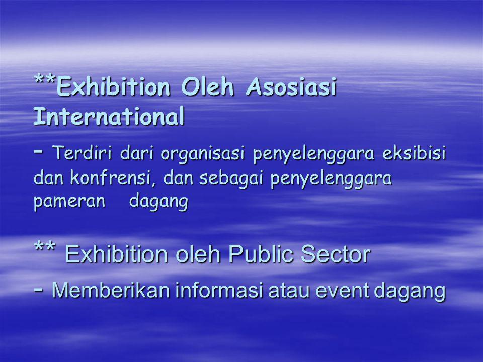 **Exhibition Oleh Asosiasi International - Terdiri dari organisasi penyelenggara eksibisi dan konfrensi, dan sebagai penyelenggara pameran dagang ** Exhibition oleh Public Sector - Memberikan informasi atau event dagang