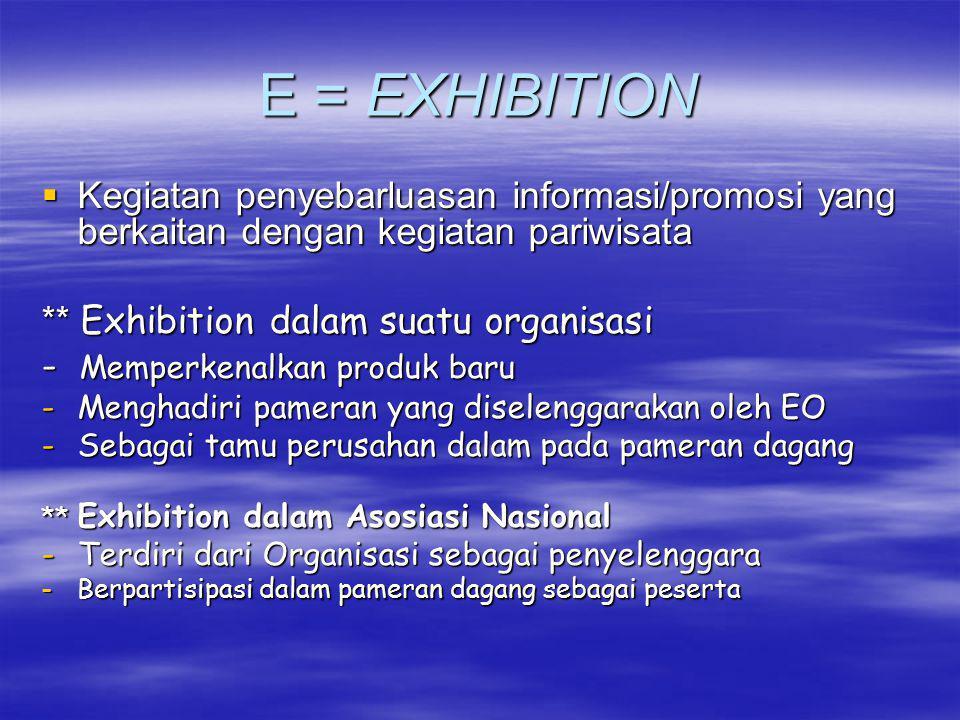 E = EXHIBITION Kegiatan penyebarluasan informasi/promosi yang berkaitan dengan kegiatan pariwisata.