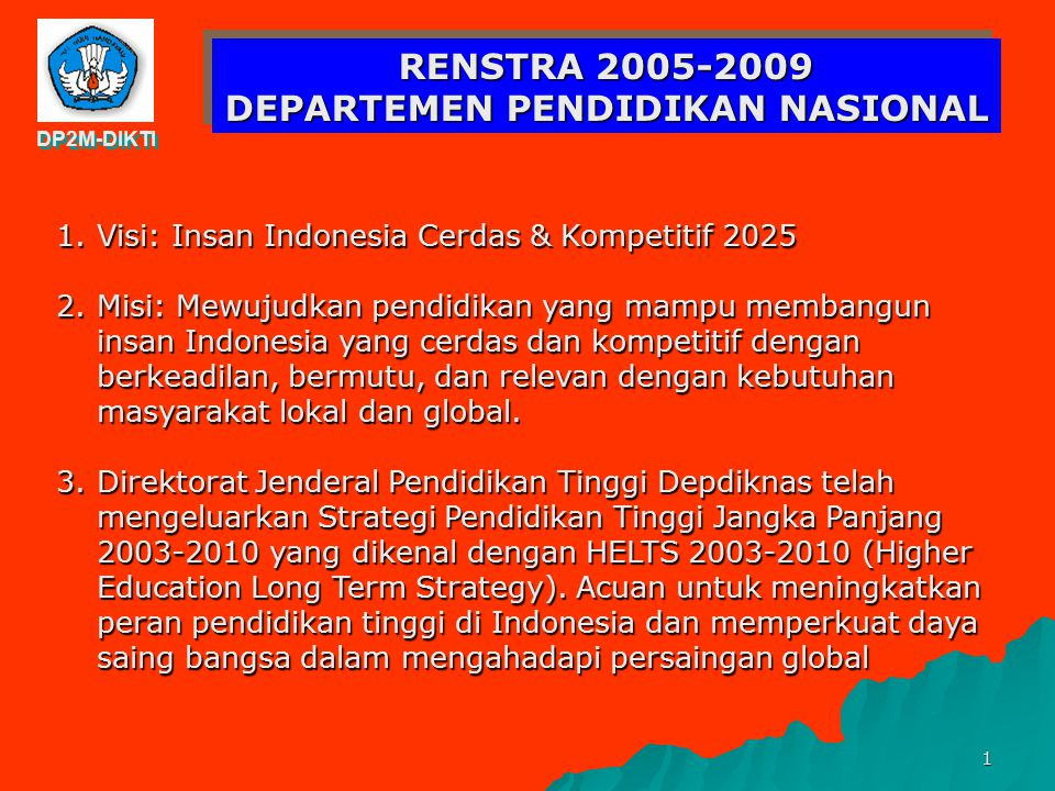 RENSTRA 2005-2009 DEPARTEMEN PENDIDIKAN NASIONAL