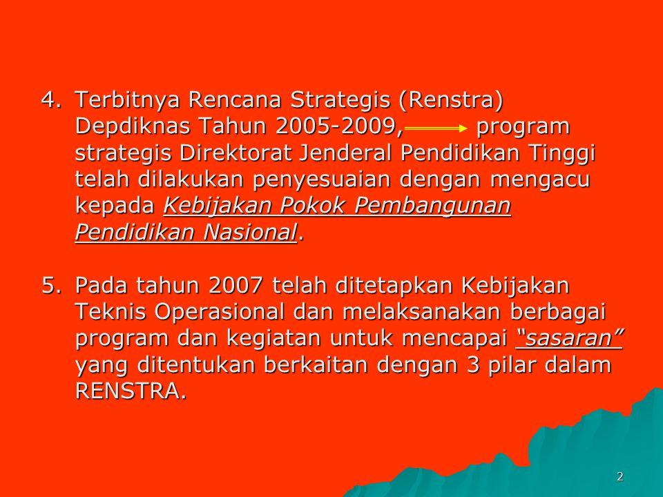 4. Terbitnya Rencana Strategis (Renstra) Depdiknas Tahun 2005-2009, program strategis Direktorat Jenderal Pendidikan Tinggi telah dilakukan penyesuaian dengan mengacu kepada Kebijakan Pokok Pembangunan Pendidikan Nasional.