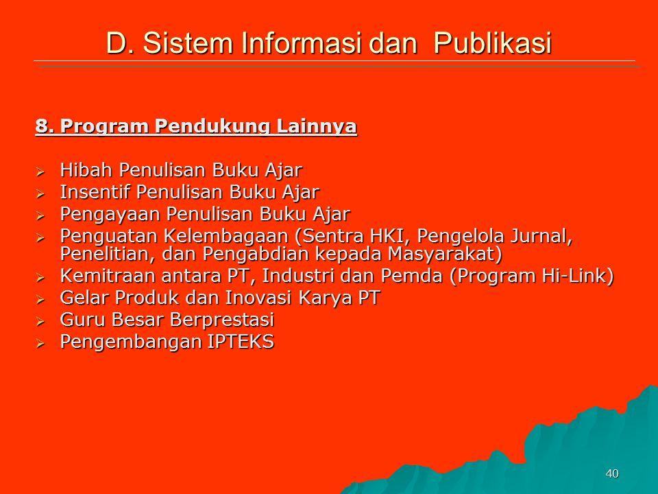 D. Sistem Informasi dan Publikasi