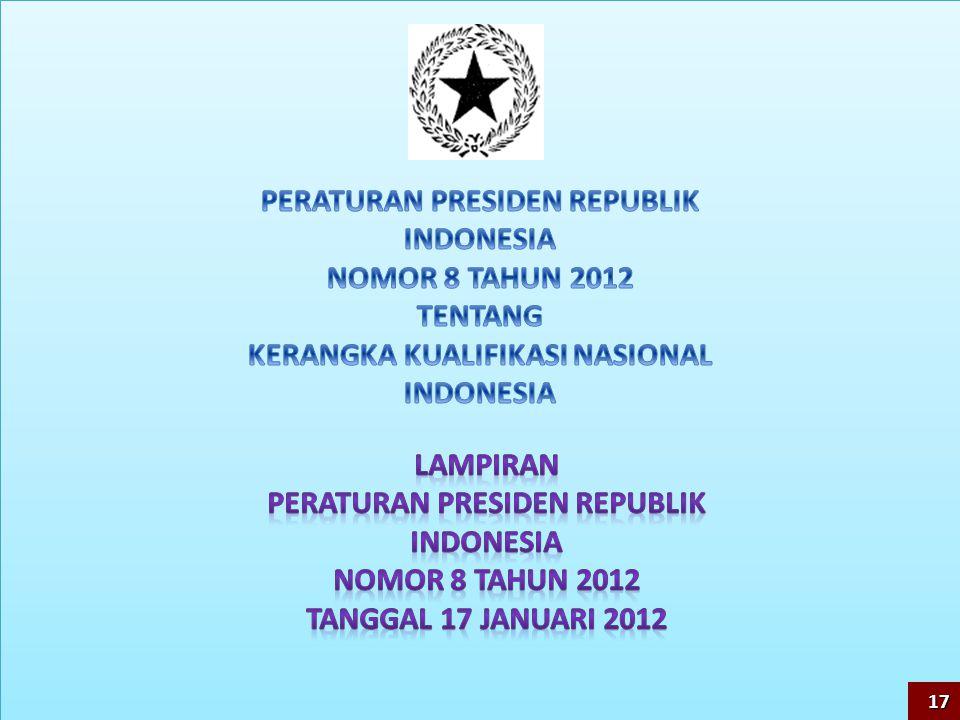 PERATURAN PRESIDEN REPUBLIK INDONESIA NOMOR 8 TAHUN 2012 TENTANG