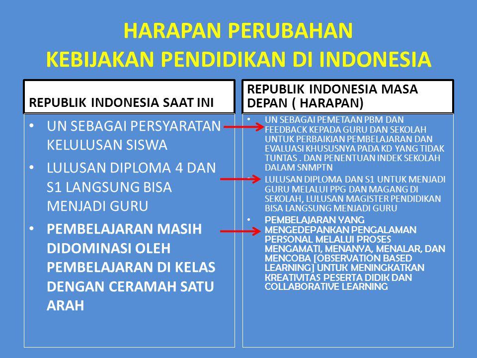 HARAPAN PERUBAHAN KEBIJAKAN PENDIDIKAN DI INDONESIA