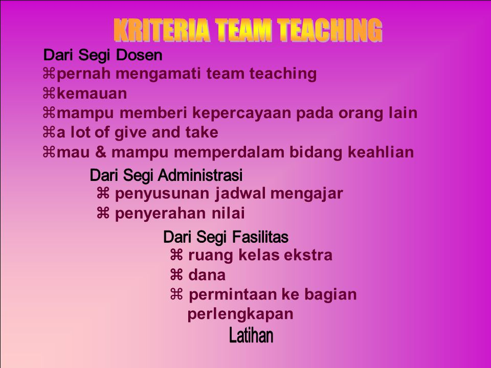 KRITERIA TEAM TEACHING