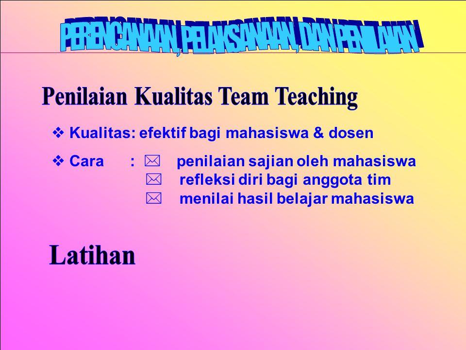 Penilaian Kualitas Team Teaching