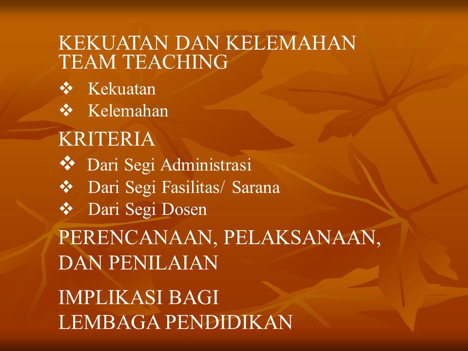 KEKUATAN DAN KELEMAHAN TEAM TEACHING