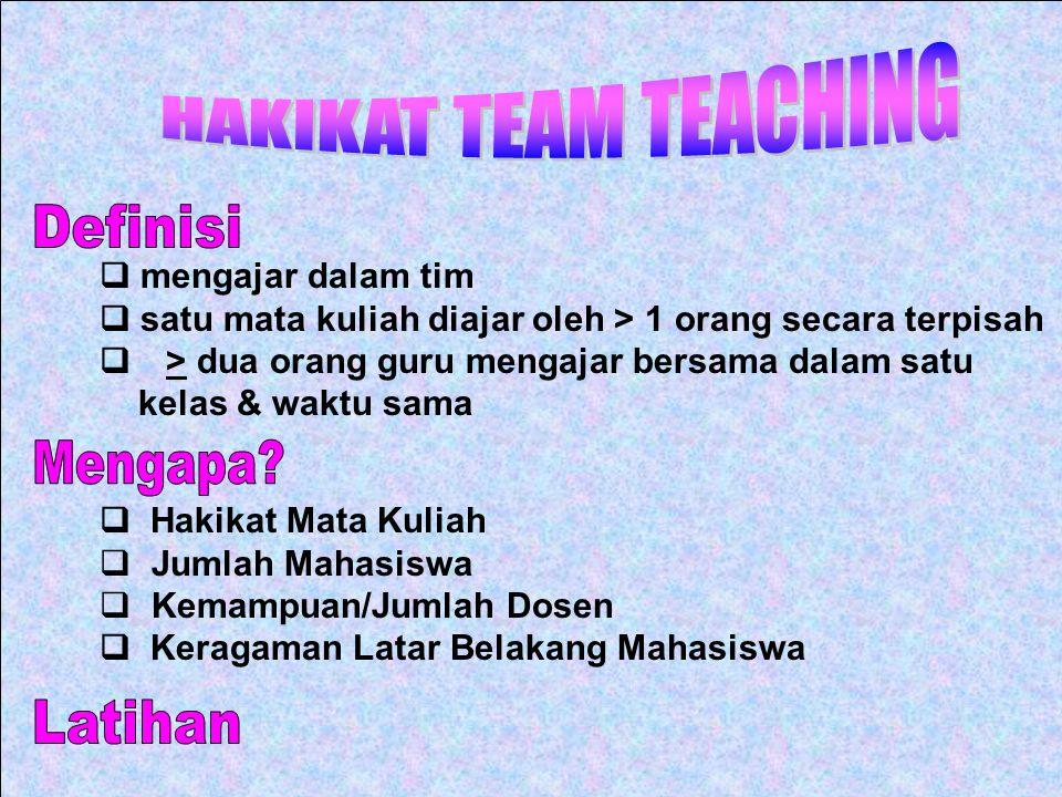 HAKIKAT TEAM TEACHING Definisi Mengapa Latihan q mengajar dalam tim