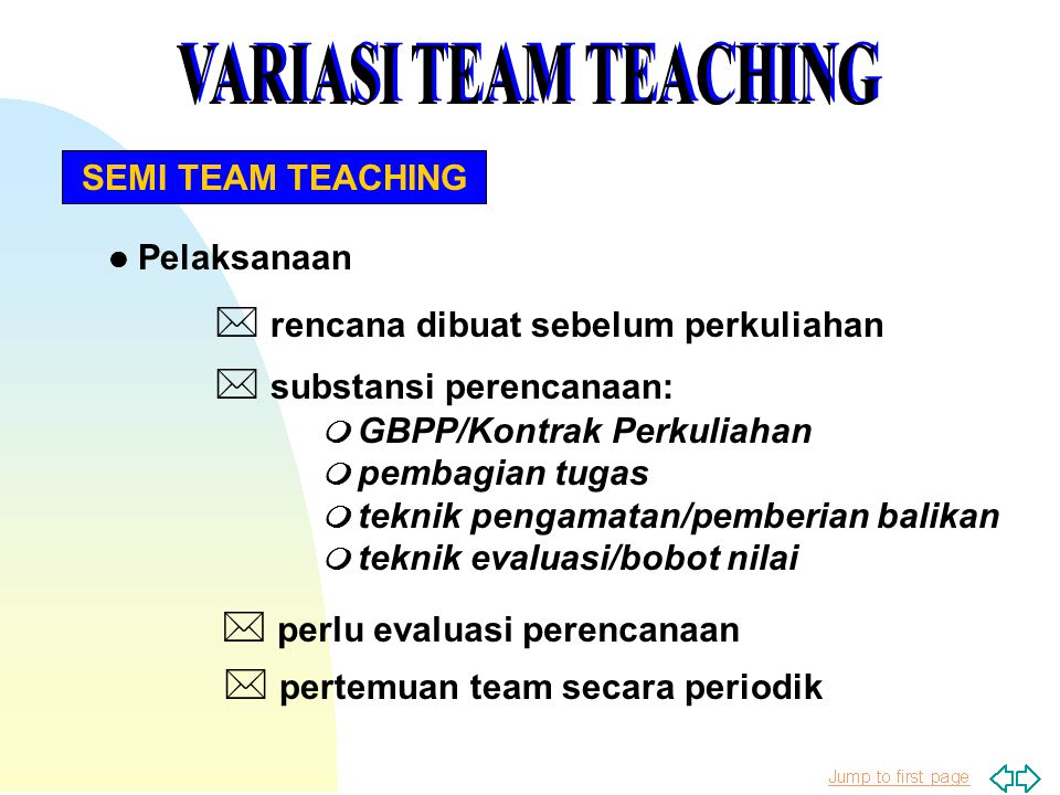 VARIASI TEAM TEACHING * rencana dibuat sebelum perkuliahan