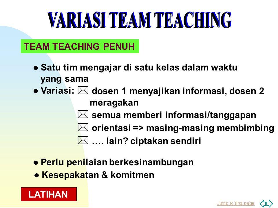 VARIASI TEAM TEACHING * dosen 1 menyajikan informasi, dosen 2