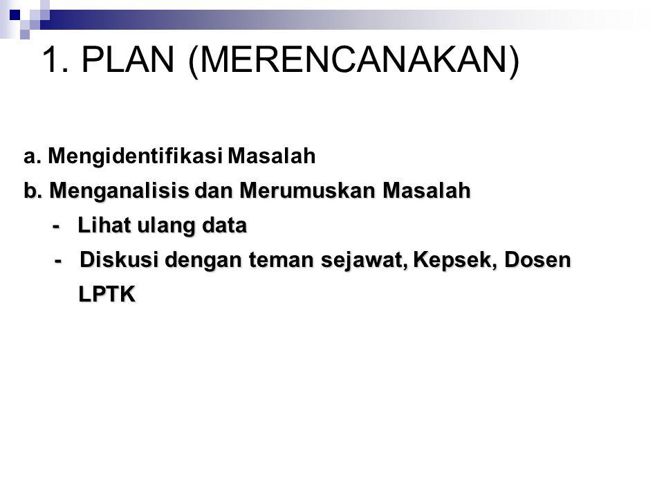 1. PLAN (MERENCANAKAN) a. Mengidentifikasi Masalah