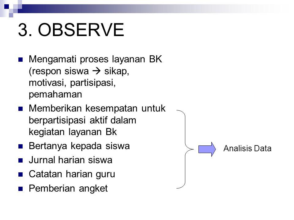 3. OBSERVE Mengamati proses layanan BK (respon siswa  sikap, motivasi, partisipasi, pemahaman.