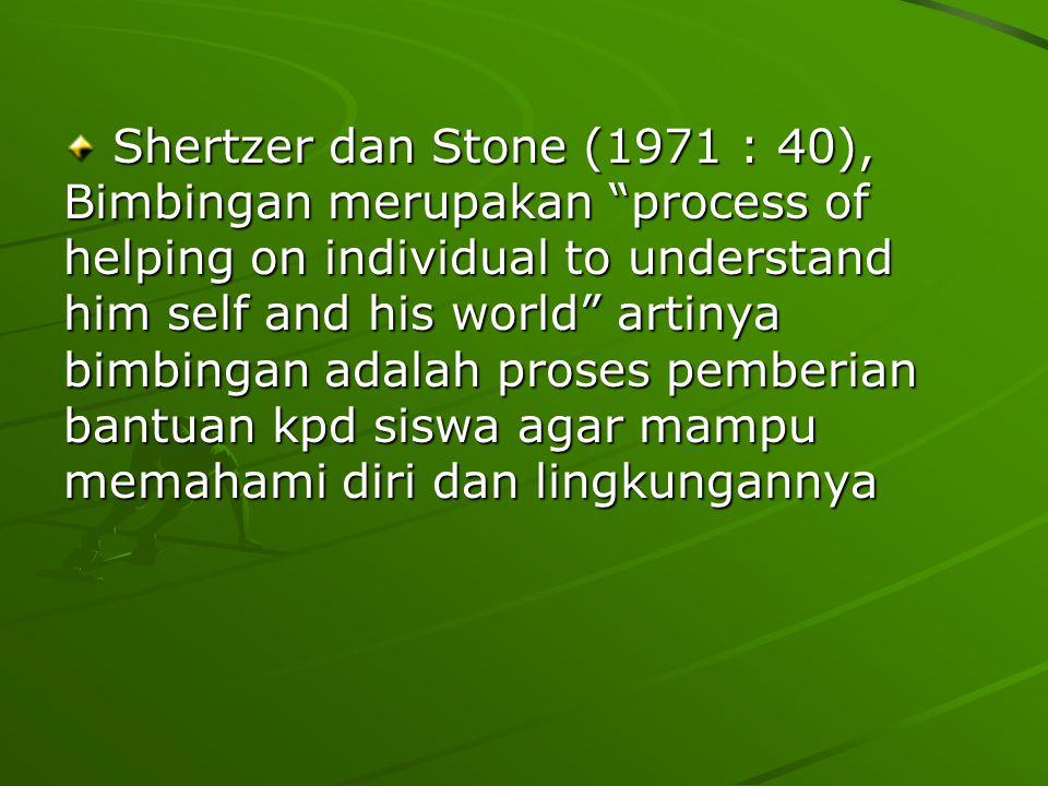 Shertzer dan Stone (1971 : 40), Bimbingan merupakan process of helping on individual to understand him self and his world artinya bimbingan adalah proses pemberian bantuan kpd siswa agar mampu memahami diri dan lingkungannya