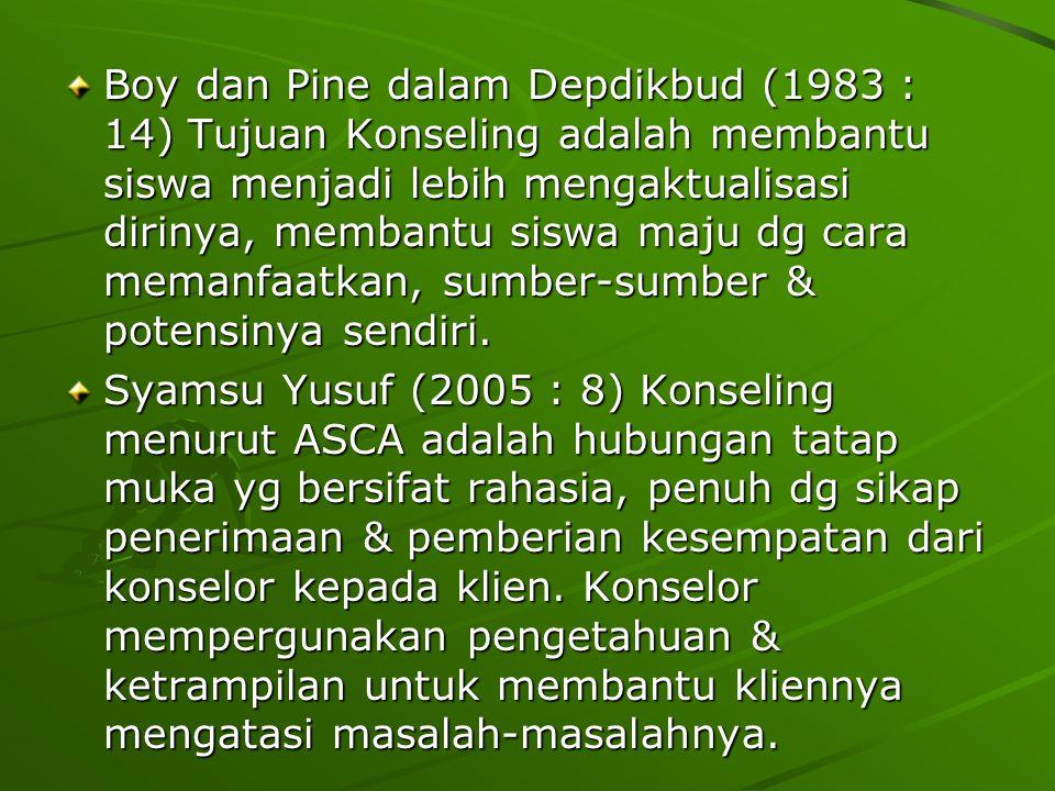 Boy dan Pine dalam Depdikbud (1983 : 14) Tujuan Konseling adalah membantu siswa menjadi lebih mengaktualisasi dirinya, membantu siswa maju dg cara memanfaatkan, sumber-sumber & potensinya sendiri.