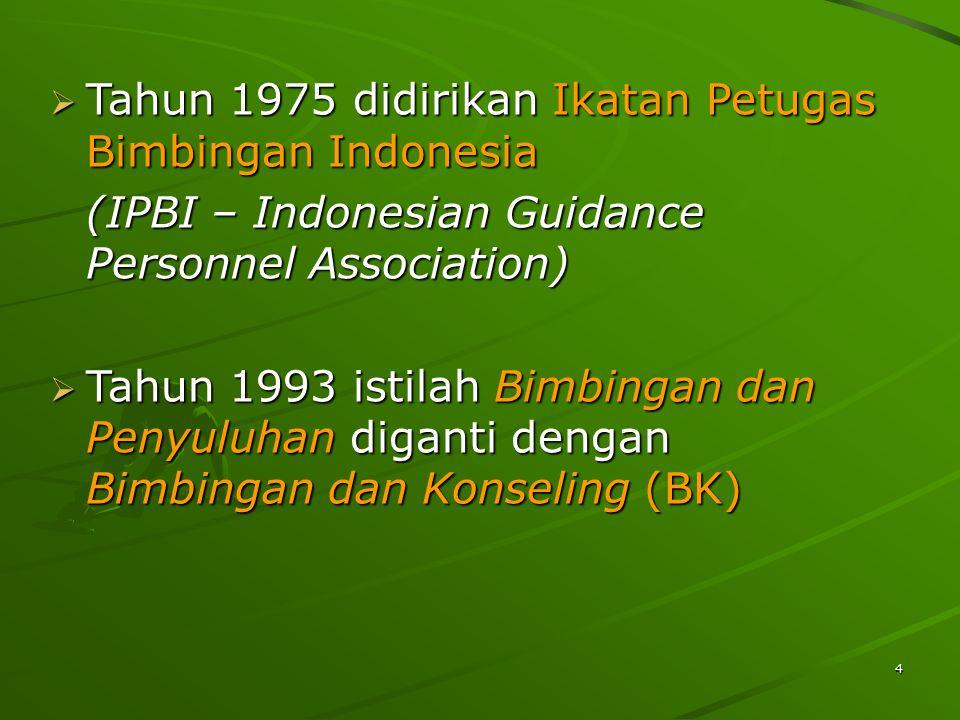 Tahun 1975 didirikan Ikatan Petugas Bimbingan Indonesia