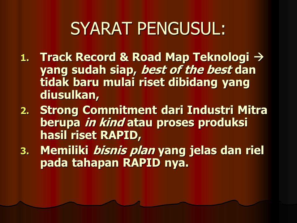 SYARAT PENGUSUL: Track Record & Road Map Teknologi  yang sudah siap, best of the best dan tidak baru mulai riset dibidang yang diusulkan,