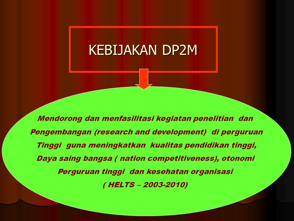 KEBIJAKAN DP2M Mendorong dan menfasilitasi kegiatan penelitian dan