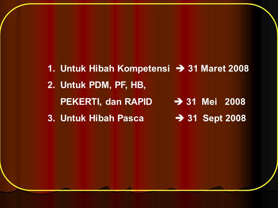 1. Untuk Hibah Kompetensi  31 Maret 2008