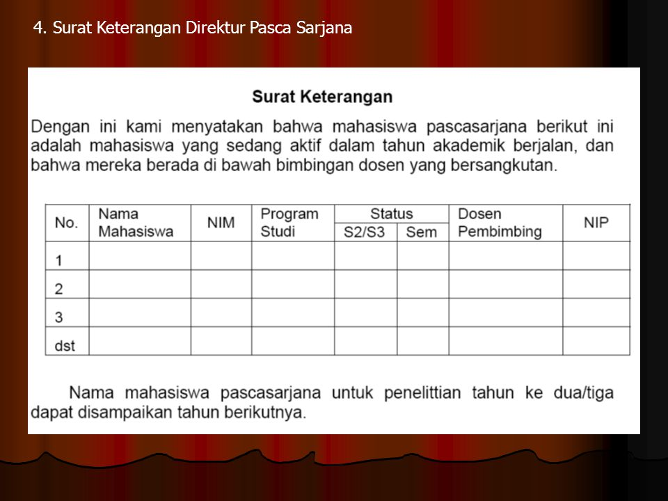 4. Surat Keterangan Direktur Pasca Sarjana