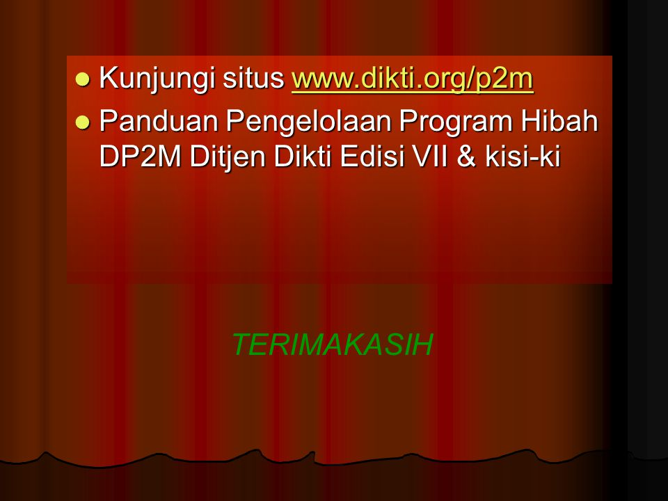 Kunjungi situs www.dikti.org/p2m