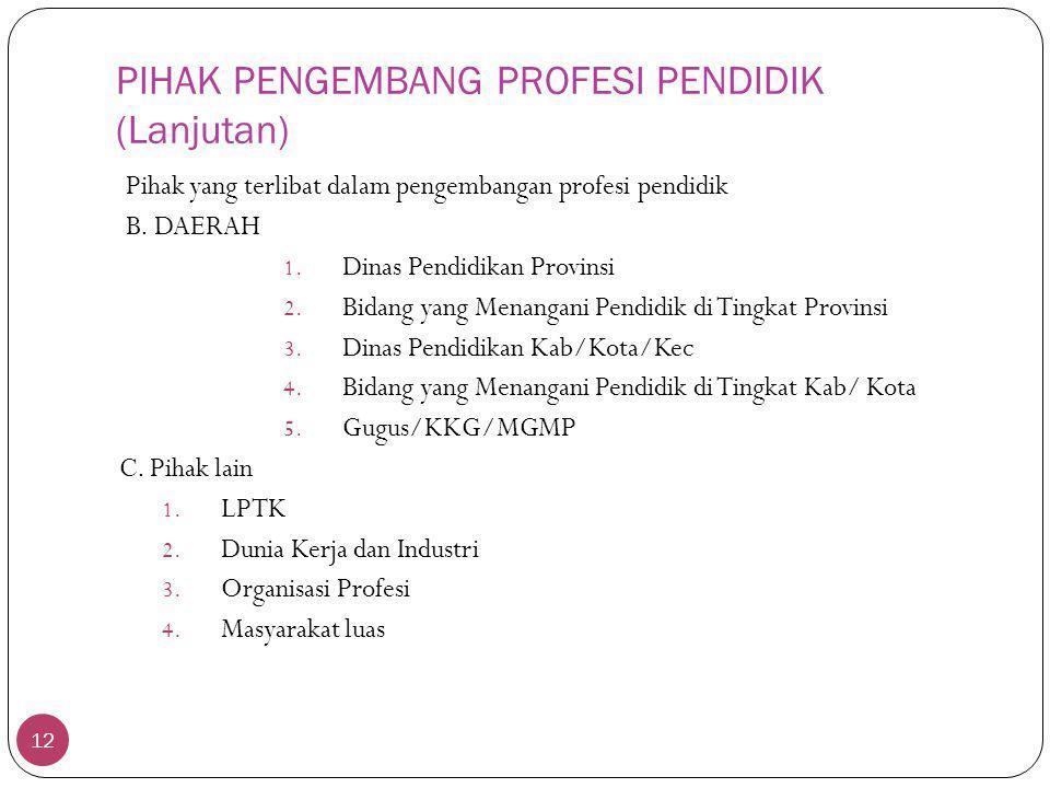PIHAK PENGEMBANG PROFESI PENDIDIK (Lanjutan)