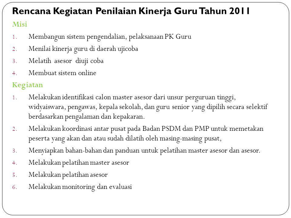 Rencana Kegiatan Penilaian Kinerja Guru Tahun 2011