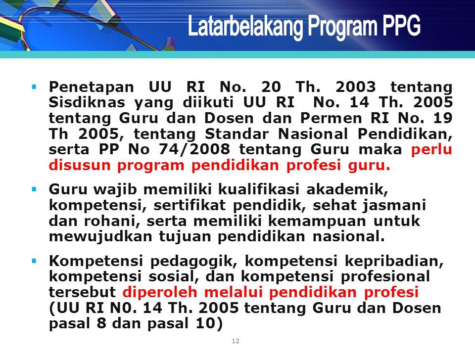 Latarbelakang Program PPG