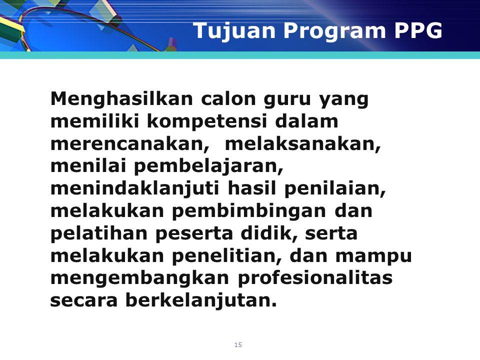 Tujuan Program PPG