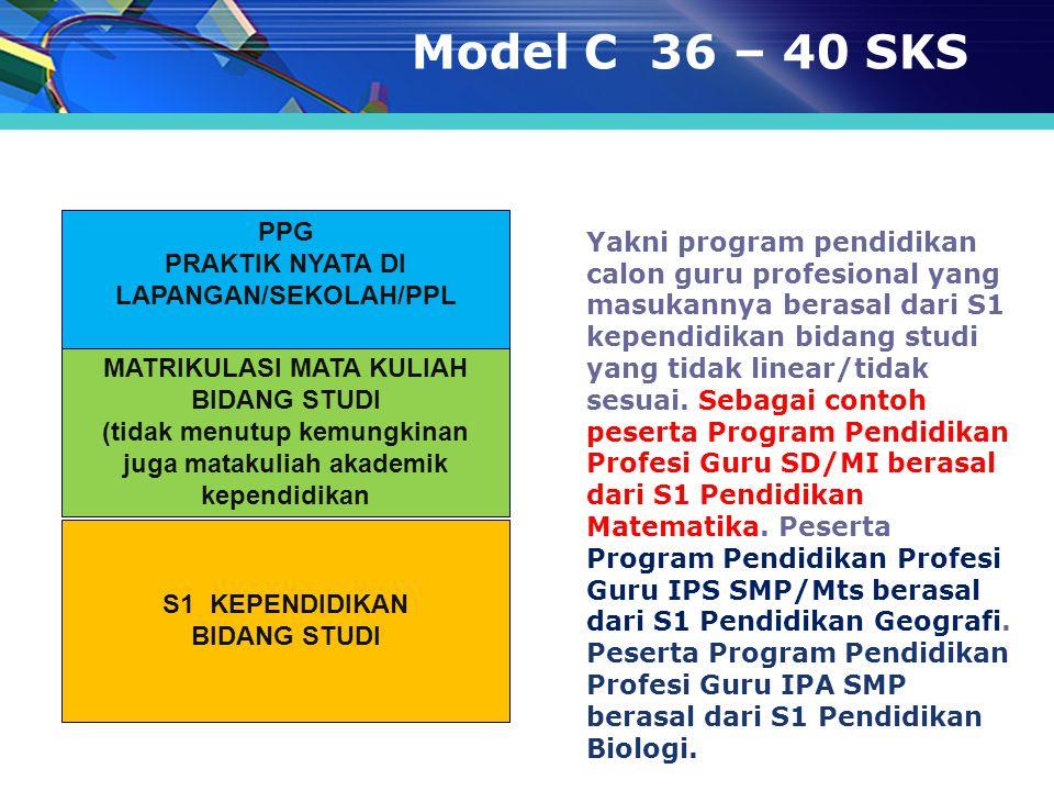 Model C 36 – 40 SKS PPG. PRAKTIK NYATA DI LAPANGAN/SEKOLAH/PPL.