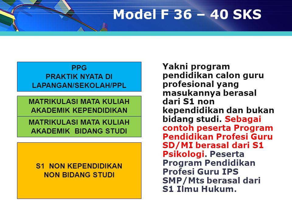 Model F 36 – 40 SKS PPG. PRAKTIK NYATA DI LAPANGAN/SEKOLAH/PPL.