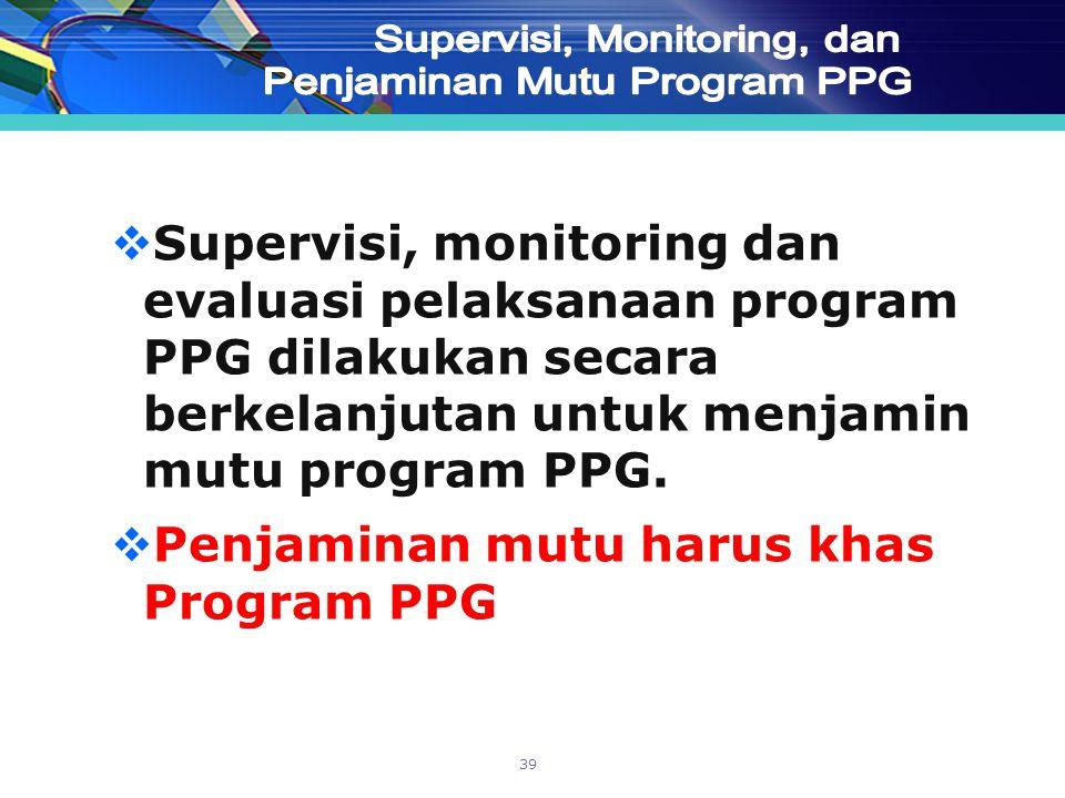 Supervisi, Monitoring, dan Penjaminan Mutu Program PPG