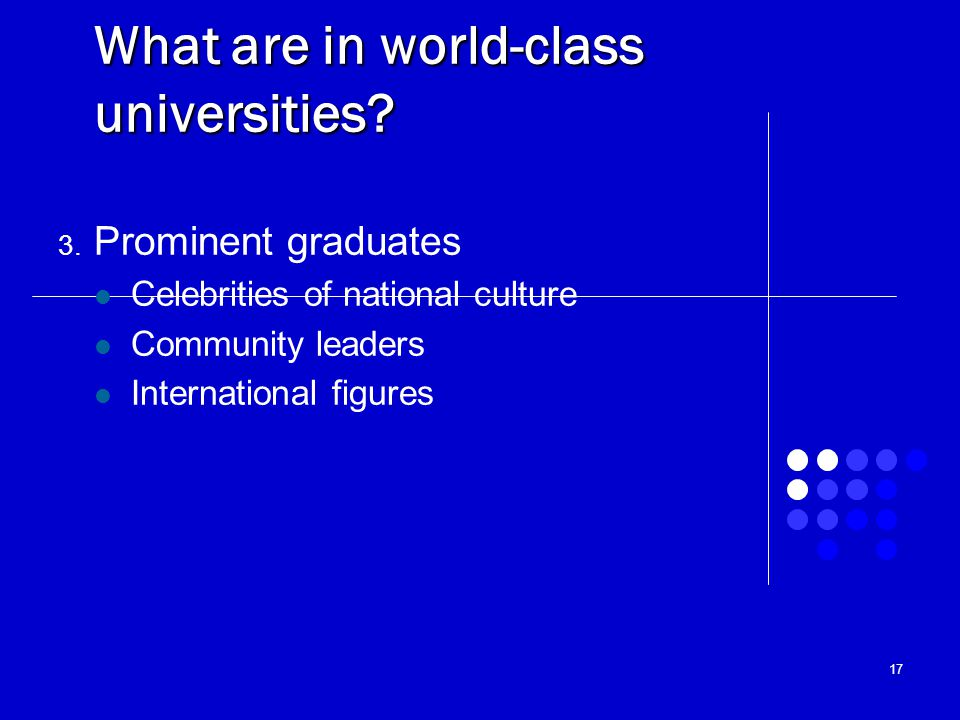 What are in world-class universities