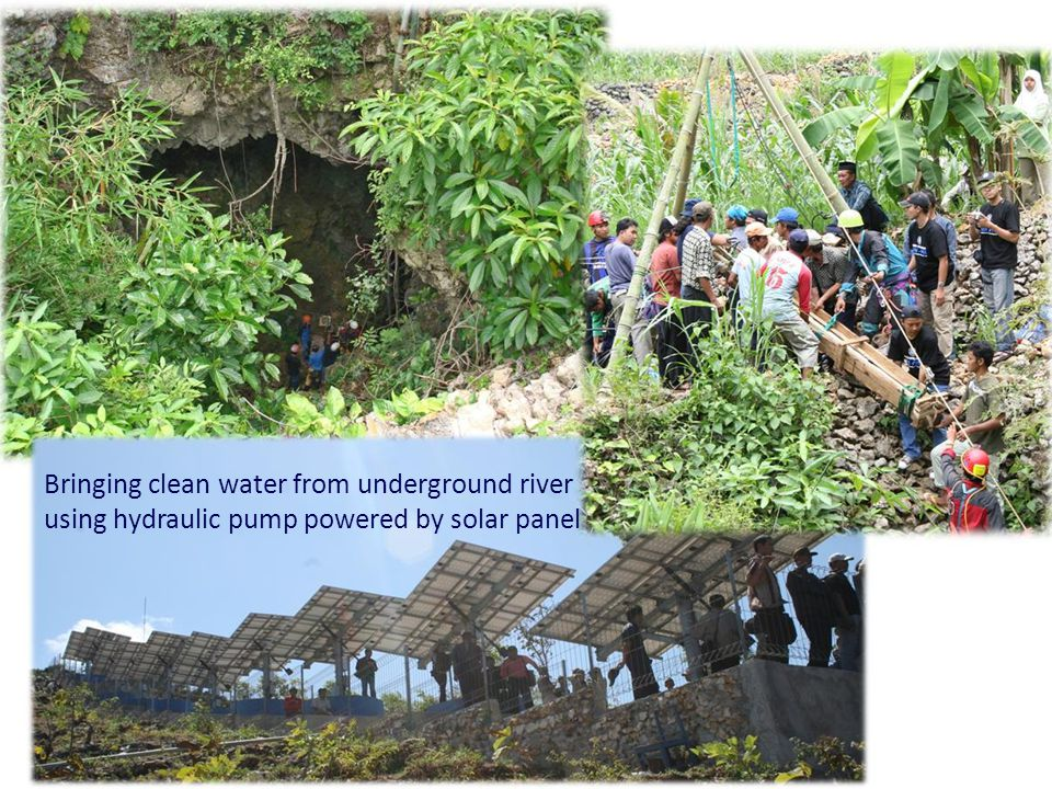 Bringing clean water from underground river using hydraulic pump powered by solar panel