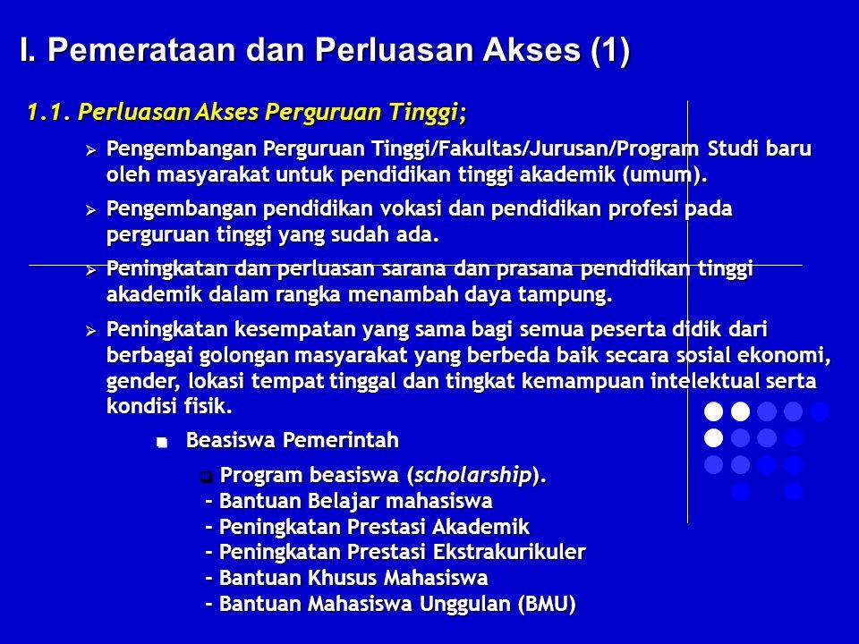I. Pemerataan dan Perluasan Akses (1)