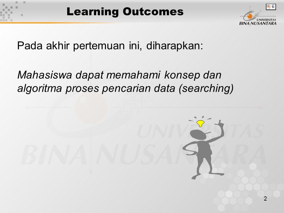 Learning Outcomes Pada akhir pertemuan ini, diharapkan: Mahasiswa dapat memahami konsep dan algoritma proses pencarian data (searching)