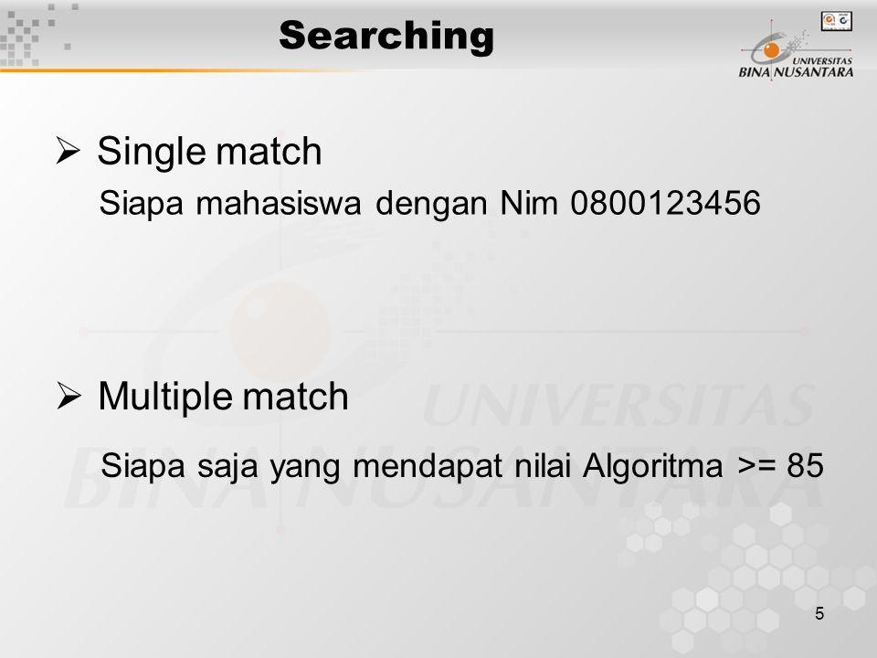 Searching Single match Multiple match