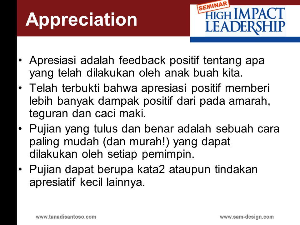 Appreciation Apresiasi adalah feedback positif tentang apa yang telah dilakukan oleh anak buah kita.