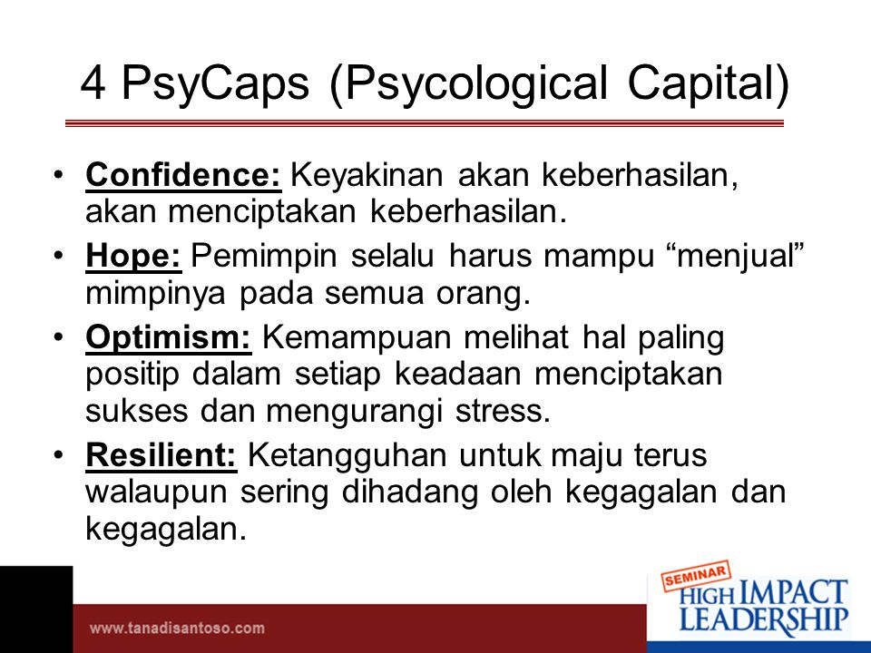 4 PsyCaps (Psycological Capital)