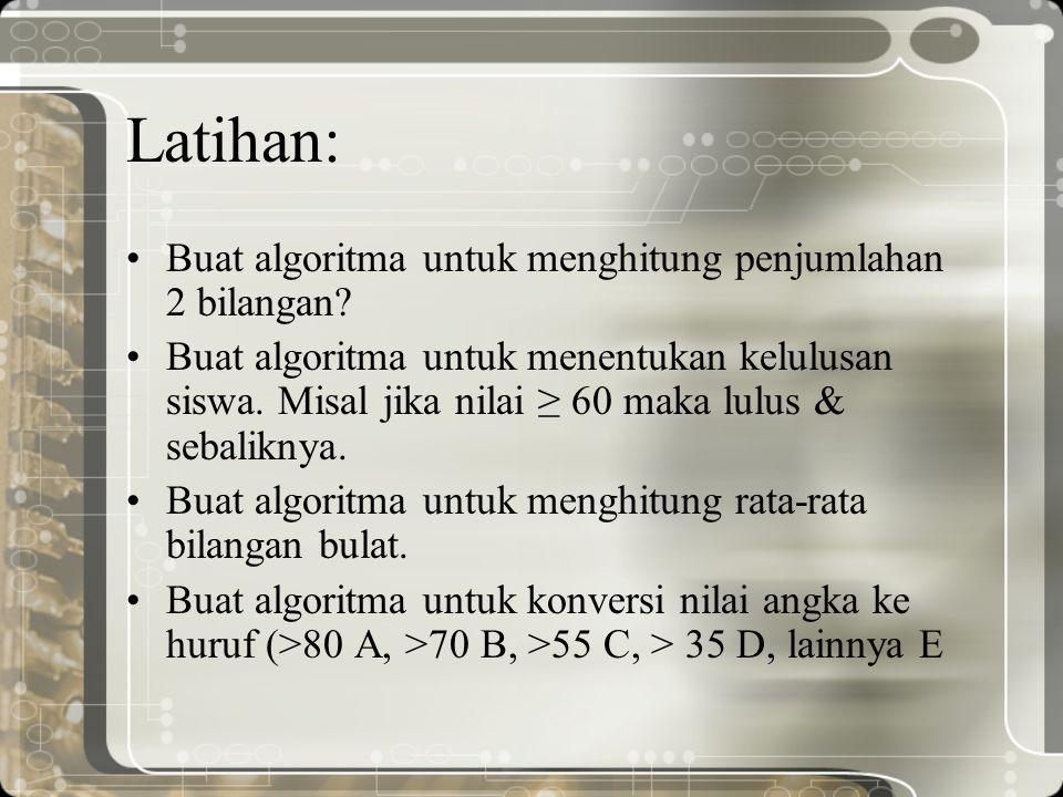 Latihan: Buat algoritma untuk menghitung penjumlahan 2 bilangan