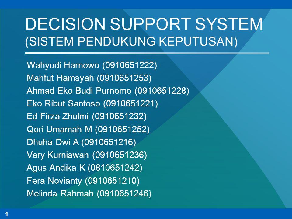 DECISION SUPPORT SYSTEM (SISTEM PENDUKUNG KEPUTUSAN)